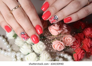 Beautiful manicure design with butterfly nail