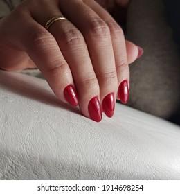 Beautiful manicure gel polish on hands