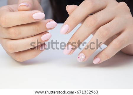 Beautiful manicure and nail art. Natural nails and gel polish. - Beautiful Manicure Nail Art Natural Nails Stock Photo (Edit Now