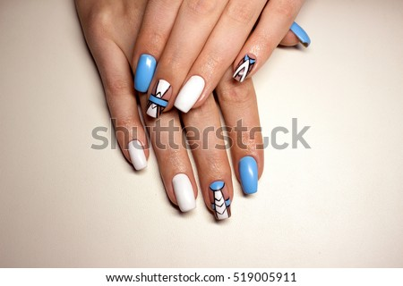 Beautiful Manicure Nails Design Winter Blue Stock Photo Edit Now