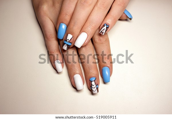Beautiful Manicure Nails Design Winter Blue Stock Photo