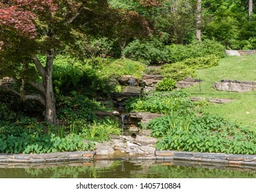 Beautiful man-made stream at a botanical garden in Durham, North Carolina, in springtime