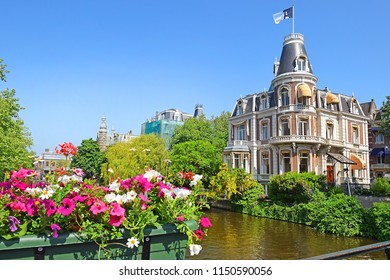 beautiful mansion of victorian era on a Singelgracht canal near the Rijksmuseum in Amsterdam, Netherlands