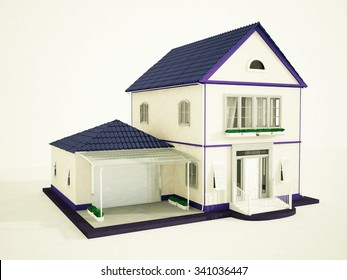a beautiful mansion with a violet roof, 3d rendering