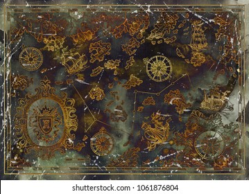 Beautiful map with pirate treasures, old ships, compasses, islands on texture. Decorative antique nautical chart, collage with hand drawn illustration