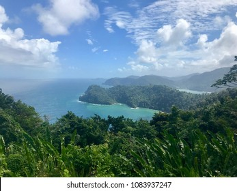 Beautiful Maracas Lookout Point with lush greenery and turquoise ocean on the Caribbean island of Trinidad & Tobago