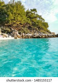 Beautiful marble beach in Greece