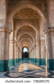 Beautiful marble columns in the mosque of Hassan 2,Casablanca,Morocco.
