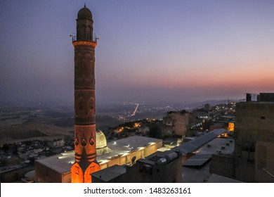 Beautiful Mardin old city landscape from Minaret of the Great Mosque. It known also as Ulu Cami. Old minaret with mesopotamian plain in the background in Turkey.