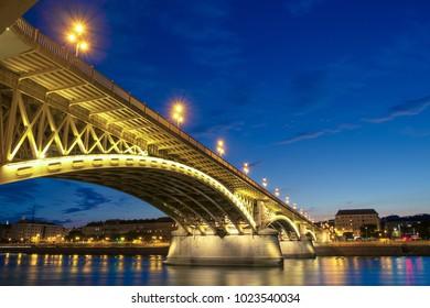 Beautiful Margaret bridge at dusk in Budapest - Hungary