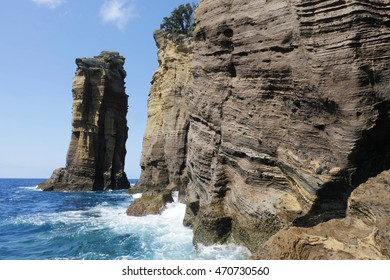 beautiful marine landscape view of rock cliff in atlantic ocean at Vila Franca Azores island in Sao Miguel Portugal with turquoise sea water and blue sky in tourism travel destination holiday vacation