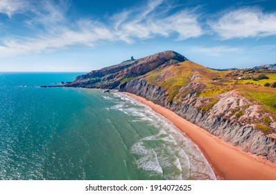 Beautiful marine scenery. Superb morning view from flying drone of empty Giallonardo Beach. Amazing spring seascape of Mediterranean sea, Sicily, Italy, Europe. Traveling concept background. - Shutterstock ID 1914072625