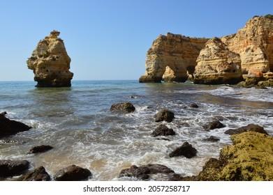 Beautiful Marinha Beach in Algarve, Portugal