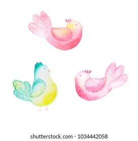 beautiful marshmallow watercolor birds