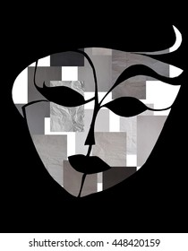 beautiful mask - black paper silhouette - abstract background design