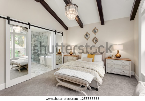 Beautiful Master Bedroom New Luxury Home Stock Photo (Edit ...