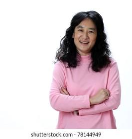 A Beautiful Mature Asian Lady Laughs Joyfully