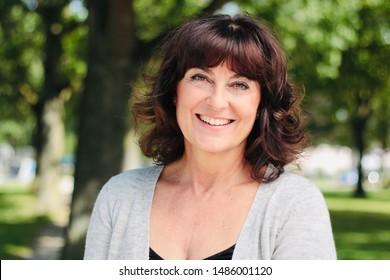 Beautiful mature caucasian woman outside