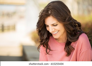 Beautiful mature woman smiling.