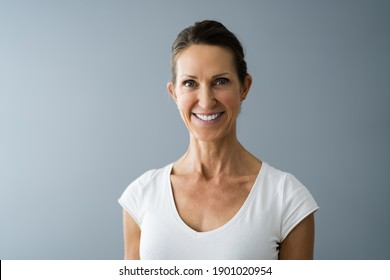 Beautiful Mature Women Headshot With Short Hair