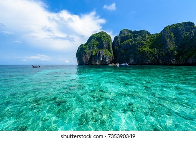 Beautiful Maya bay of Phi Phi Islands in the morning with less tourist 2017