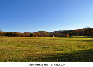 A beautiful meadow in the Blue Ridge mountains on an autumn day.