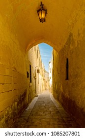 A beautiful mediaval archway in the old city of Mdina in Malta