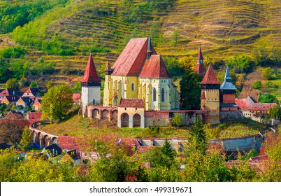 Beautiful medieval architecture of Biertan fortified church in Sibiu, Romania protected by Unesco World Heritage Site