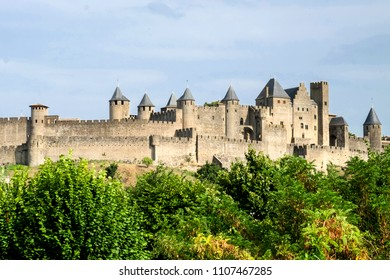 The beautiful medieval architecture of the famous historical city of Carcassonne in Languedoc-Roussillon region, France, is protected by UNESCO,