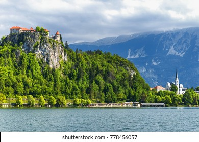 Beautiful medieval castle on Bled lake in Slovenia