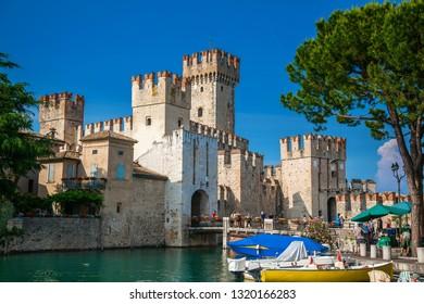 beautiful medieval castle Scaliger in Sirmione, lake Lago di Garda, Italy