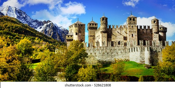 Beautiful medieval castles of Italy - Fenis in Valle d'Aosta mountains