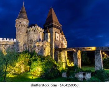The beautiful Medieval Corvin Castle in Romania at night