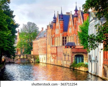 beautiful medieval landmark in the city of Bruges, Belgium