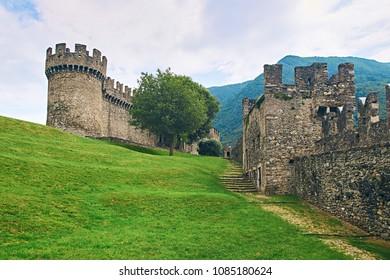 Beautiful medieval Montebello castle in Bellinzona, Switzerland