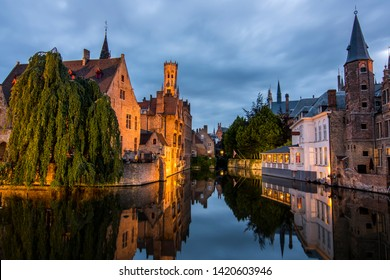 Beautiful Medieval town Bruges in Belgium (Europe). Full of bridges and water channels.