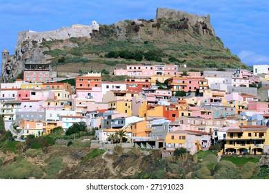 Beautiful medieval town Castelsardo on the north coast of Sardinia island.