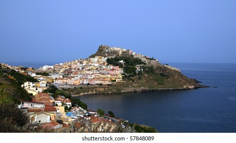 Beautiful medieval town Castelsardo on Sardinia, Italy with mighty castle and traditional houses