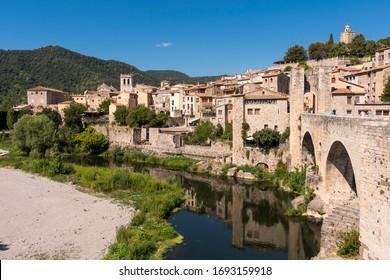 Beautiful medieval town of Besalú located near the city of Gerona. (Spain)