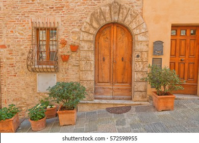 Beautiful medieval town of narrow streets and charming porch in Pienza city,Italy