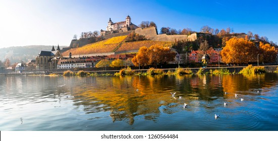 "Beautiful medieval Wurzburg town - famous ""Romantic road"" touristic attraction in Germany"