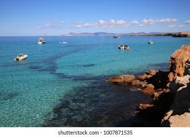 beautiful mediterran beach at Formentera, Spain