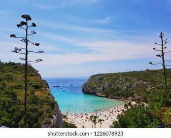 Beautiful Mediterranean beach scenery with turquoise ocean and white sand, Cala En Porter, Menorca, Balearic Islands