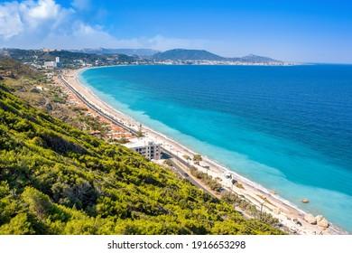 Beautiful Mediterranean landscape of the Ixia coast on the Rhodes island, Greece