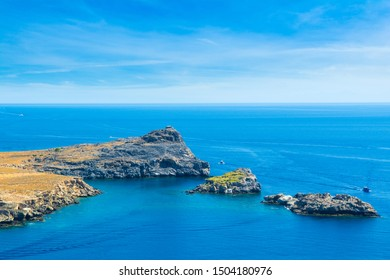Beautiful mediterranean landscape of Lindos Bay on the Rhodes island, Greece
