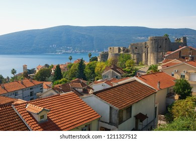 Beautiful Mediterranean landscape. Montenegro. View of Herceg Novi city and ancient Sea Fortress ( Forte Mare )