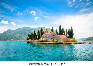 Beautiful mediterranean landscape. St. George Island near town Perast, Kotor bay, Montenegro.