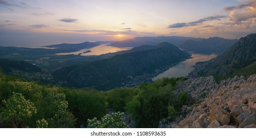 Beautiful Mediterranean landscape. Sunset. Montenegro, panoramic view of Gulf of Kotor (Adriatic Sea), Vrmac mountain and Kotor city from  Lovcen mountain