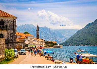 Beautiful mediterranean landscape - town Perast, Kotor bay (Boka Kotorska), Montenegro, Europe