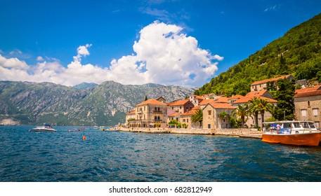Beautiful mediterranean landscape - town Perast, Kotor bay (Boka Kotorska), Montenegro.